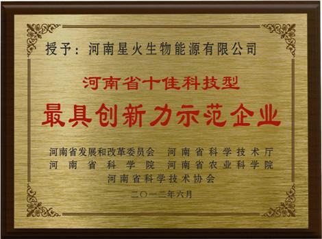 河(he)南省最具創新力(li)示範企(qi)業(ye)
